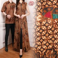 SB Collection Couple Gamis Longdress Silma Dress Maxi dan Kemeja Batik Pria