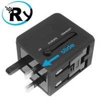 (Ready) Universal Travel Adapter 3 in 1 EU UK USA Plug with 1A USB Port - Blac