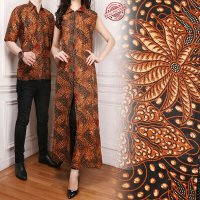 SB Collection Couple Gamis Longdress Selin Dress Maxi dan Kemeja Batik Pria