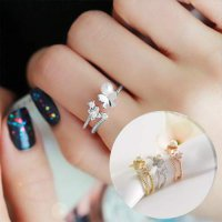 Ring Butterfly Pearl Cute Decorative small - Silver