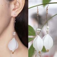 Flower Petals Acrylic Long Earring - White