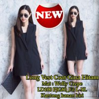 [Long Vest Coat Gina SW] coat wanita wolly crepe hitam