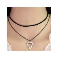 RKL1133 - Kalung Choker Double Chain Crystal Triangle