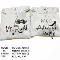 HOODIE JUMPER - MR AND MRS ALWAYS RIGHT- JAKET COUPLE - JAKET DISTRO FASHION TERBARU 2018 | BJTI214