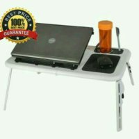 Meja Laptop Portable + 2 fan cooler & USB cable portable