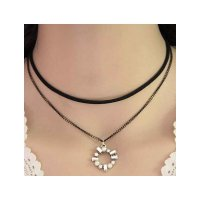 RKL1134 - Kalung Choker Double Chain Crystal Circle