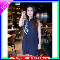 [Siap Kirim] peony embroidery shirt dress navy blue premium cotton