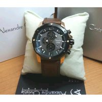 Jam Tangan Alexandre Christie Ac-6410 Pria Black Gold Brown Original