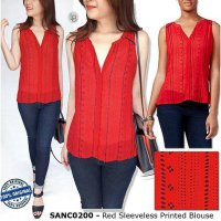 F206 onlySanctuary Red Sleeveless Printed Blous BRANDED ORIGINAL | BAZZF365