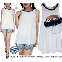 F093 MAX White Sleeveless Fringe Detail Trapeze Top BRANDED ORIGINAL | BAZZF390