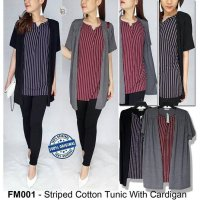 F053 Frickle Mug Striped Cotton Tunic With Cardigan BRANDED ORIGINAL | BAZZF398