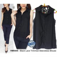 F037 @69 H&m black lace trimmed sleeveless blouse BRANDED ORIGINAL | BAZZF404