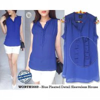 E919 Worthington Blue Pleated Detail Sleeveless Blouse baju branded or | BAZZF433
