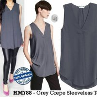 D887 H&M Grey Crepe Sleeveless Top original branded | BAZZF587