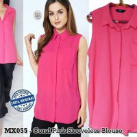 D938 MAX Coral Pink Sleeveless Blouse original branded | BAZZF584