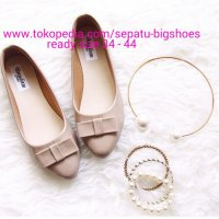 B460 SEPATU WANITA FLAT SHOES SALMA CREAM BIG SIZE 34 - 44 DUMBUM SHOES