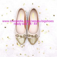 B552 SEPATU WANITA FLAT SHOES QUINNY GOLD BIG SIZE 34 - 44 DUMBUM SHOES