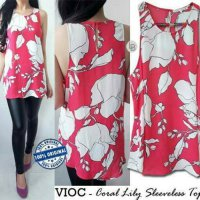 c810 Violet coral lily sleeveless top original branded | BAZZF721