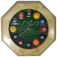 Murrey Billiard Wall Clock - Octagonal - Wood - Hadiah Jam Biliar Unik