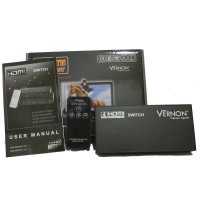 Vernon HDMI Switcher 4x1, 4input 1 output dengan remote control, High Resolution High Speed