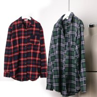 Check-shirt / long sleeve autumn winter women brushed cotton southern Kara box rujeupit