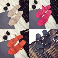 Female Plastic Beach Shoes Jelly color Flat Casual Sandals Slipper GRATIS ONGKIR