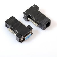 1 Pair VGA Extender Male Female to LAN RJ45 CAT5 CAT6 Network Cable Adapter