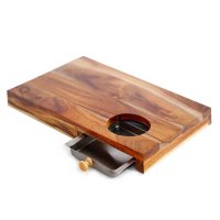 Oxone OX-614 Wooden Chopping Board with Stainless Steel Tray