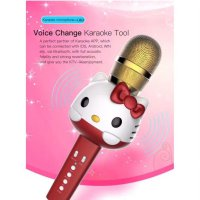 New Promo Hello Kitty Wireless Bluetooth Karaoke Player Microphone Speaker Q7 Q9Speaker Akif / Speaker Bas / Musik