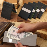 Mens Leather Magic Credit Card ID Holder Money Clip Wallet