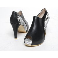 Wholesale python nose open 9.5 cm synthetic leather ankle boots
