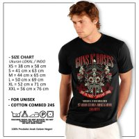 Kaos Guns N Roses Band Live In Jakarta Not In This Time Your Hitam GNR - Hitam, S
