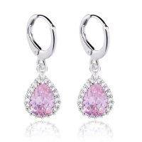 Anting Pink Teardrop Shaped Dangling White Gold Filled