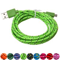 3M/10FT Hemp Rope Micro USB Charger Sync Data Cable Cord for Cell Phone