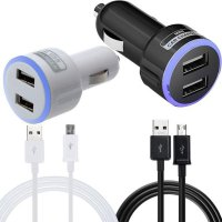 2.1A Dual Port Car Charger & Micro USB Cable For Samsung Galaxy S7 Edge