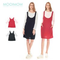 MOOIMOM 2 Piece Stripe Long Sleeves Sling Nursing Dress Couple Set Baju Hamil Menyusui Couple Ibu Anak