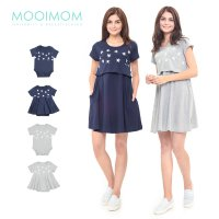 MOOIMOM Starry Sky Nursing Dress & Baby Clothes Baju Hamil Menyusui Couple Ibu Anak