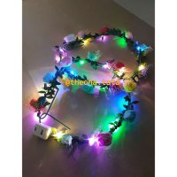 FLOWER CROWN/ Mahkota bunga : BUNGA KUNCUP warna mix LED LAMPU