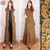 Cj collection Blazer batik 2in1 dress maxi panjang atasan blouse long tunik kemeja wanita jumbo shirt maxi dress Moza