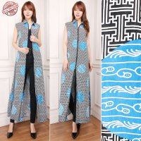 Cj collection Blazer batik 2in1 dress maxi panjang atasan blouse long tunik kemeja wanita jumbo shirt maxi dress Ulan
