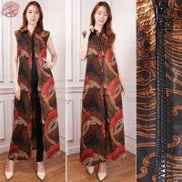 Cj collection Blazer batik 2in1 dress maxi panjang atasan blouse long tunik kemeja wanita jumbo shirt maxi dress Natasya