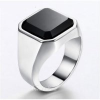 CINCIN PRIA 316L Stainless Steel Silver Color Black Zircon HQ