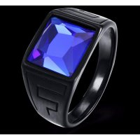 CINCIN BLACK Titanium Stainless Signet Square Blue Stone PUNK ROCK