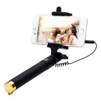 Tongsis Kabel Lipat Full Black | Three Generation Selfie Stick for Android and iOS | Tongsis Hitam