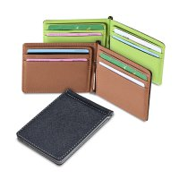 [FREE ONGKIR] Mens Leather Silver Money Clip Slim Wallets Black ID Credit Card Holder