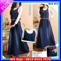 (Jumpsuit) Overall zipper jeans rok muslim dress panjang kodok resleting