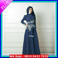 (Gamis) dress gamis dres hijab Queen rose brukat bordir baju muslim pesta