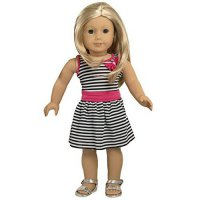 [poledit] Ebuddy Zebra Strip Summer Party Dress Clothes Fits 18 Inch Doll (R1)/12236648