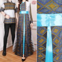 SB Collection Couple Gamis Mahda Dress Maxi Longdress Dan Kemeja Batik Pria