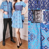 Cj collection Batik couple 2in1 Dress batik maxi pendek wanita mini dress dan atasan kemeja pria dewasa jumbo Talina M-XL